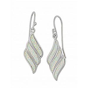 Fluid Diamond Design White Opal Drop Earrings   The Opal