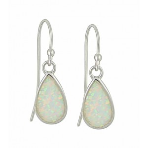 White Opal Silver Teardrop Earrings