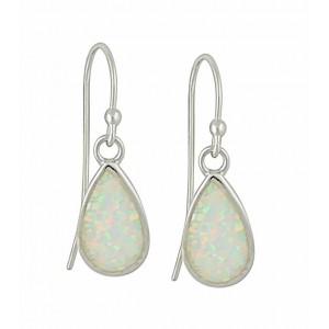 White Opal Teardrop Silver Earrings | The Opal