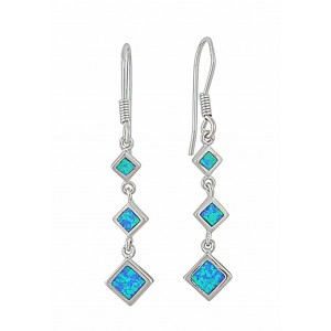 Triple Diamond Design Opal Silver Earrings | The Opal