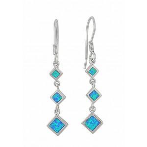 Triple Diamond Design Opal Silver Earrings   The Opal