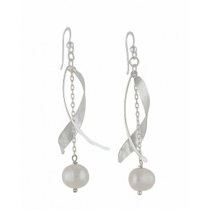 Sterling Silver Curved Bar and Freshwater Pearl Long Drop Earrings