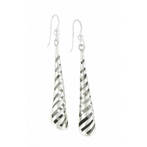 Cascading Spiral Silver Long Earrings