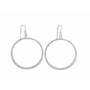 Twist Textured Circle Silver Drop Earrings