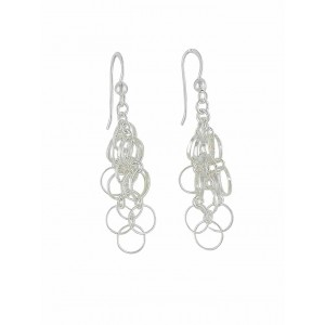 Silver Disc Link Silver Earrings