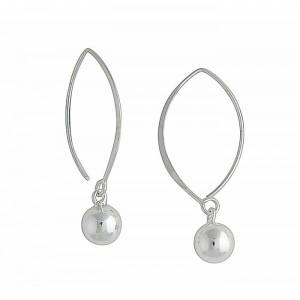 Silver Ball Charm Drop Earrings