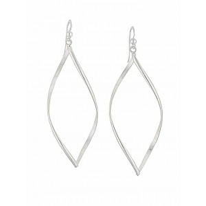 Leaf Design Long Silver Dangle Earrings