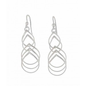 Cascading Teardrop Silver Dangle Earrings