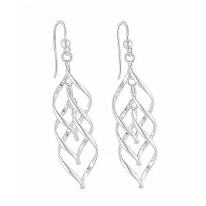 Twisted Link Leaf Silver Dangle Earrings