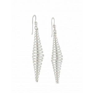 Silver Spiral Long Earrings