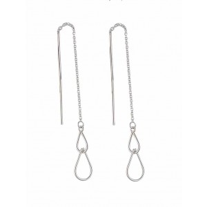 Duo of Teardrop Silver Threader Earrings