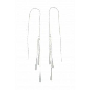 Cascading Teardrop Silver Threader Earrings
