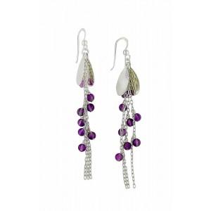 Cascading Amethyst Bead Silver Long Earrings