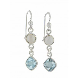 Blue Topaz and Freshwater Pearl Silver Drop Earrings