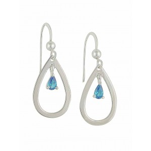 Open Teardrop and Small Blue Topaz Silver Dangle Earrings