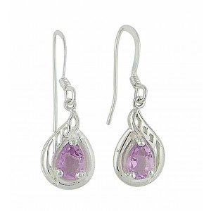 Filgree Teardrop Amethyst Silver Drop Earrings | The Opal Jewellery