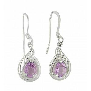 Filgree Teardrop Amethyst Silver Drop Earrings   The Opal Jewellery