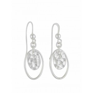 Open and Hammered Oval Dangly Earrings