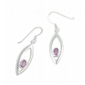 Oval Amethyst Stone Drop Earrings