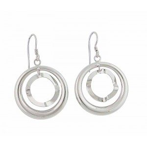 Two Open Circle Silver Drop Earrings