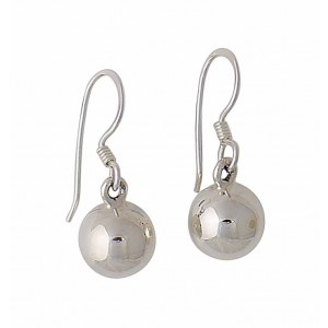 9mm Silver Ball Drop Earrings