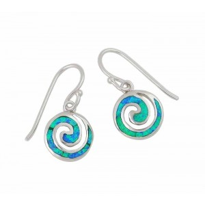 Blue Lab Opal Spiral Drop Earrings
