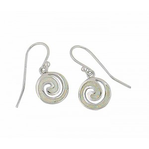 White Lab Opal Spiral Drop Earrings