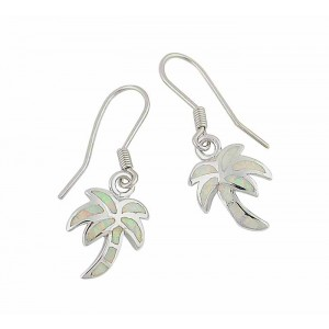 White Opal Silver Palm Tree Earrings