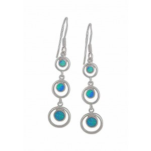 Link Circle Blue Opal Earrings