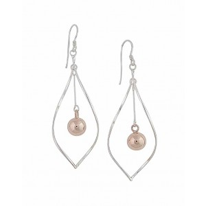 Open Teardrop and Rose Gold Ball Drop Earrings