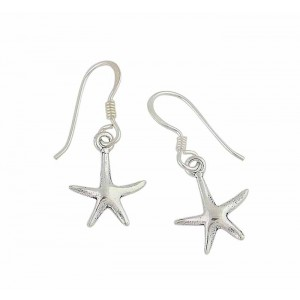 Sterling Silver Small Starfish Drop Earrings