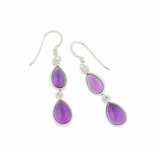 Twin Teardrop Amethyst Drop Earrings