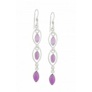 Triple Marquoise Stone Amethyst Earrings