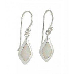 Small Marquise White Opal Drop Earrings