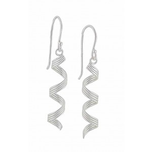 Spiral Ribbon Sterling Silver Drop Earrings