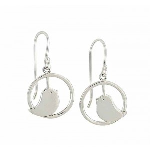 Circle and Bird Silver Drop Earrings