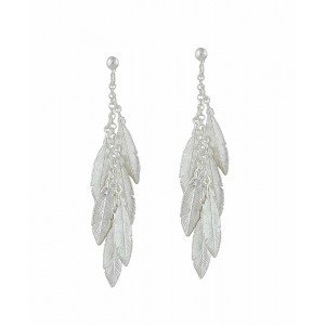 Multi Feather Silver Drop Earrings