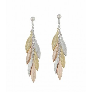 Three Tone Multi Feather Earrings