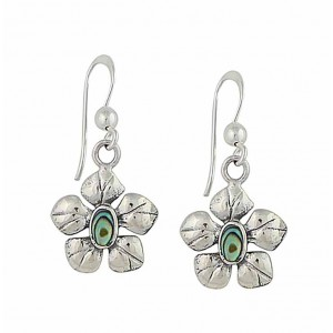 Abalone Flower Drop Earrings in Sterling Silver