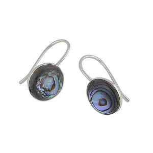 Abalone Circle Silver Earrings
