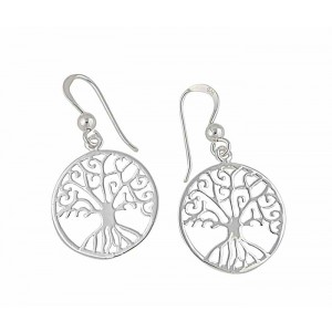 Tree of Life Circle Silver Drop Earrings