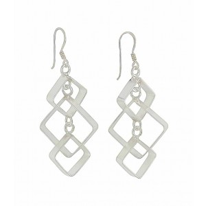 Interlink Square Sterling Silver Drop Earrings