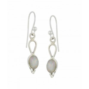 Oval Silver Small Drop Earrings