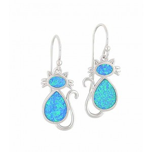 Blue Opal Cat Drop Earrings