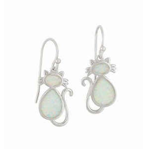White Opal Cat Drop Earrings