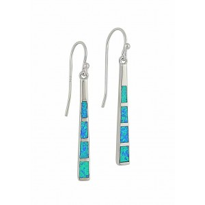 Blue Opal Sterling Silver Bar Dangle Earrings