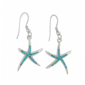 Blue Opal Starfish Silver Earrings