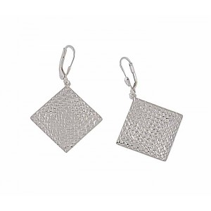 Textured Effect Silver Square Drop Earrings