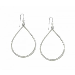 Large Open Teardrop Silver Earrings
