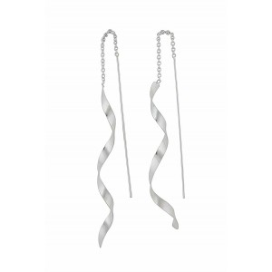 Spiral Bar Silver Pull Through Earrings